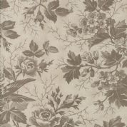 Moda Quill by 3 Sisters - 5593 - Bird Toile Floral, Taupe on Pale Beige  - 44151 22 - Cotton Fabric
